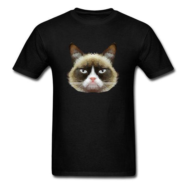 Pop Grumpy Cat 2018 Men Black T Shirt Geometric Art Painting Male Short Sleeve Cotton Top T Shirts Funny Clothing