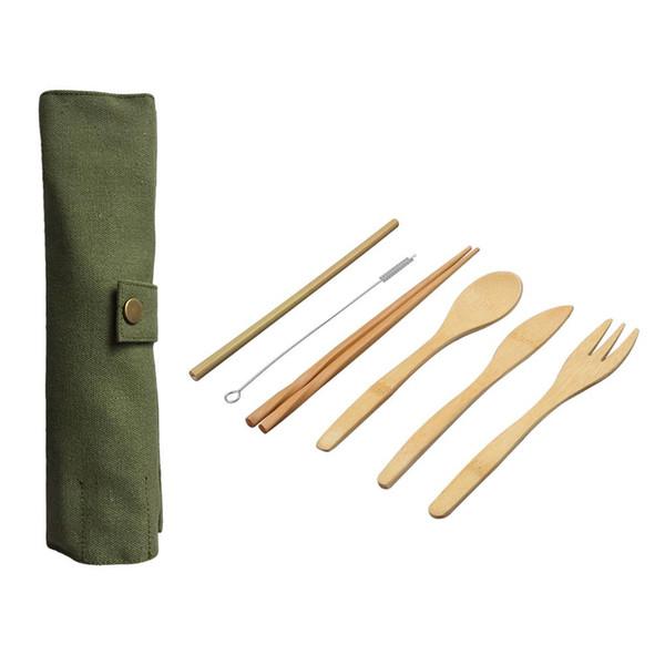 7 Unids / set Vajilla De Madera Conjunto De Bambú Cucharadita Tenedor Cuchillo Sopa Catering Cubiertos Set con Bolsa de Tela Utensilios de Cocina de Cocina