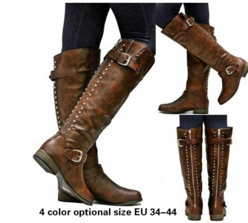 3bc6ab573b20 Womens Knee High Boots Lace Up Buckle Combat Punk Shoes Riding ...