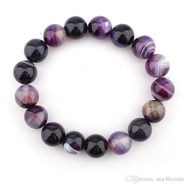 Free DHL 14mm Natural Crystal Bracelet Bangle DIY Crystal Bead Bracelet Purple Striped Dream Agate Ball Jewelry Accessories H541F Y