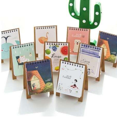 best selling Hot Sale New 2018 Mini Table Calendars Desk Calendar Office Lovely Cute Little Fresh Cartoon Animals Series Flamingo