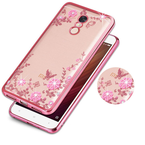 Luxury Bling Diamond Secret Garden Flower Clear Plating Soft TPU Case Back Cover For XiaoMi 3 4 4C 4S 5 5S Plus Note 2 Max Mix 6 5C 5X A1 6X
