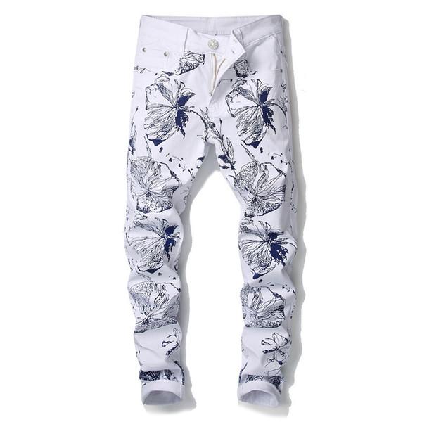nueva productos e7780 f0f98 Compre Pantalones Vaqueros Blancos Impresos 3D De Los Hombres 2018  Pantalones Pintados A Mano Del Lápiz Del Dril De Algodón Del Estiramiento  Pintados ...