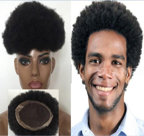 Afro Toupee Top Selling Black Hair Brazilian Virgin Human Hair Short Hair Afro Kinky Curl Toupee for Black Men Replacement Free Shipping