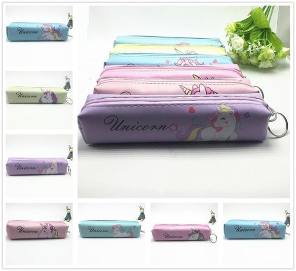 Hot Fashion Creative Unicorn Pattern PU Storage Bag Home Learning Case Lovely Gift Decor Free Shipping