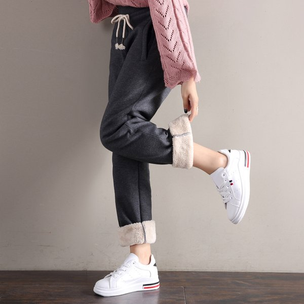Pantalones Femeninos Mujeres Pantalones de Cachemira Mujeres Pantalones Fleece Cordero Invierno Grueso Bolsillo Cálido Sólido Cintura Media Rectos Sueltos