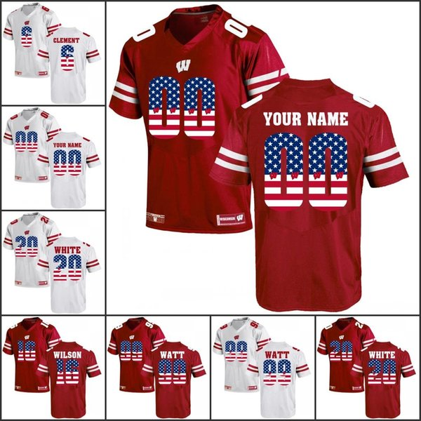 National flag Custom NCAA Wisconsin Badgers College Football jerseys Any Name Any Number 16 Russell Wilson 23 Jonathan Taylor J. J. Watt