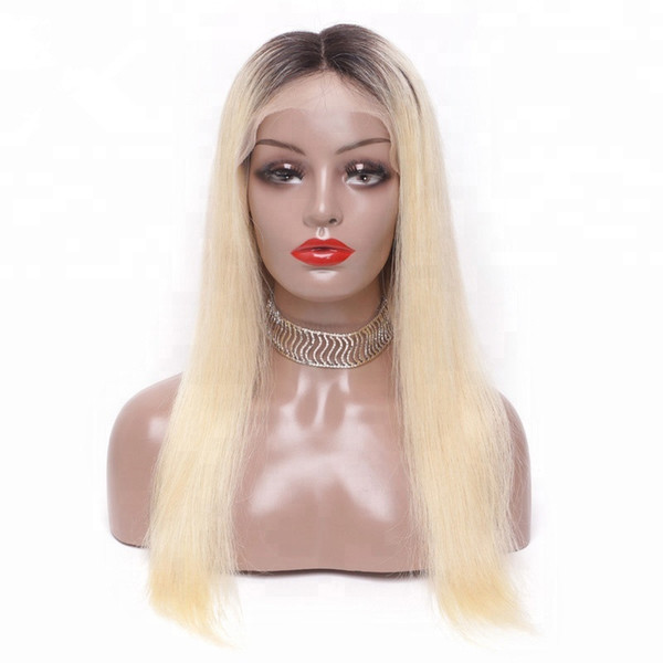 Factory price on sale long lasting fashion 100% unprocessed virgin human hair long #613 ombre color silk straight full lace wig for women