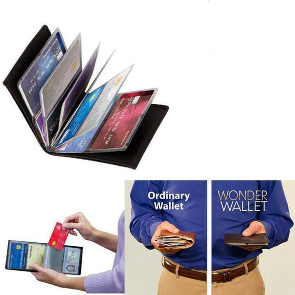 Wonder Wallet Amazing Slim RFID Blocking Wallets Black PU Leather Purse Cases With 24 Cards Holders Keep Cards Safe OOA5153