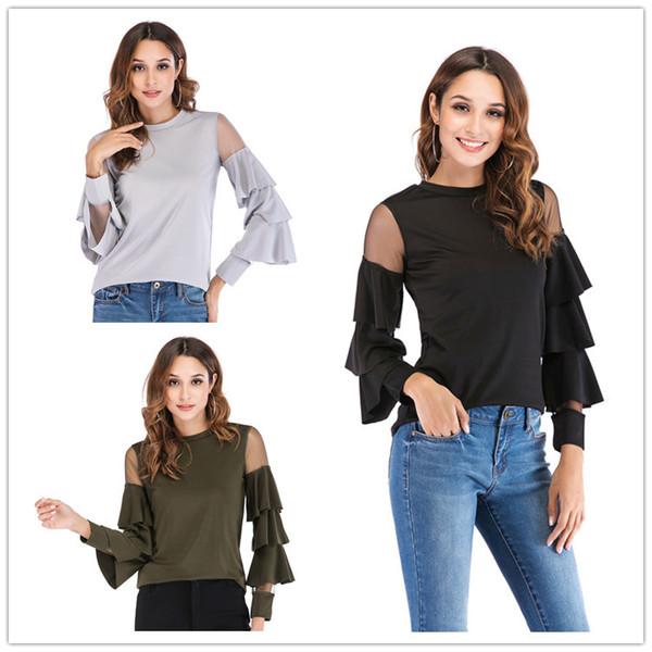 Новая мода женщины Сексуальная панелями сетки твердые с длинным рукавом футболки женские flare рукавом блузка топы
