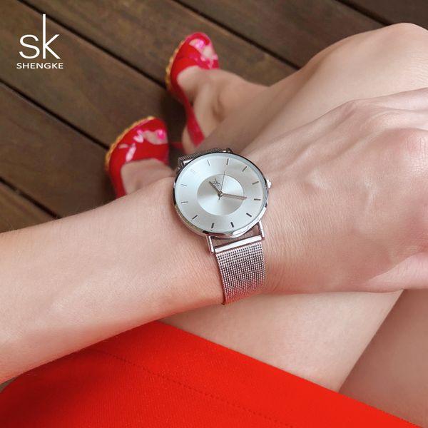 Shengke 7MM Ultra Thin Dial Women Fashion Watches Top Brand Luxury Quartz Ladies Watches Reloj Mujer 2018 SK Women Wrist Watch Y1890304