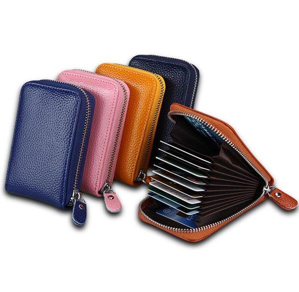 Echtes Leder Kartenhalter Mode Multifunktions-Reißverschluss Orgel Karte Paket Multi-Card Kreditkarte Set Geldbörse Fall