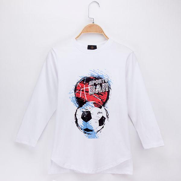 2018 Children Clothes Kids T-shirts Football and Basketball Print 100% Cotton Long Sleeve Child Shirt Boy T Shirts Baby Girl Tops Tees