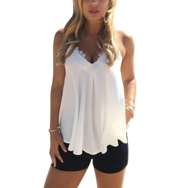 Fashion- Sexy Women Summer Casual Low-cut Crop Top Vest Bodycon Lace Floral Tunic Sleeveless Tank Top Camis Tops