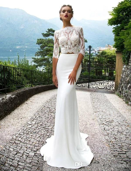 2018 Sexy Lace Mermaid Wedding Dresses Long Sleeve Beach Bridal Gowns Court Train Cheap Custom Made BC1056