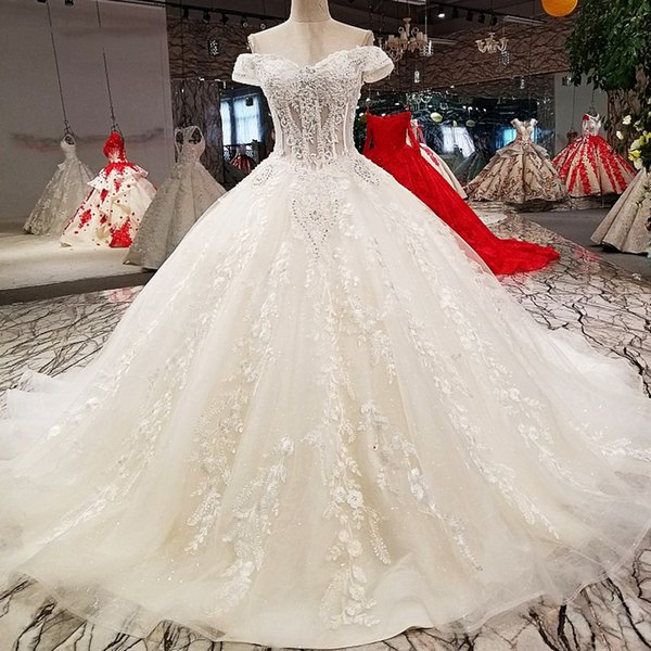 2019 Pure New Wedding Dresses Bridal Gowns Off Shoulder Sweetheart Lace Up Wedding Dresses With Long Train From China 100% Real As Photos