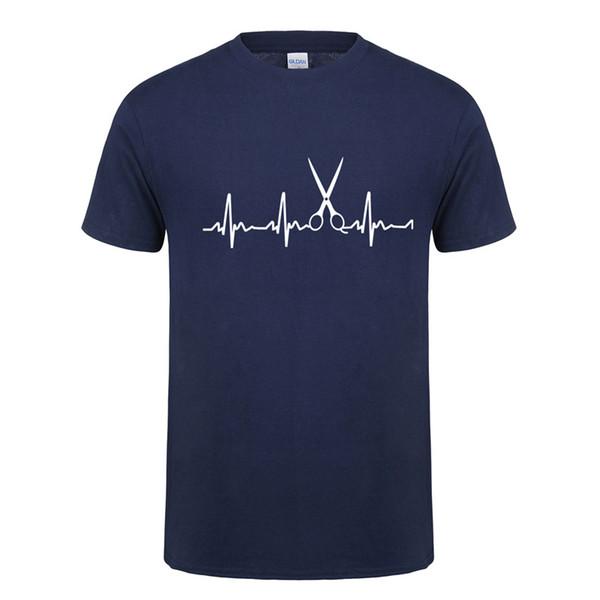 Summer Style Men T Shirts Heartbeat of Hairdresser T-shirt New Printed Short Sleeve O Neck Cotton Men Clothing Tops OT-725