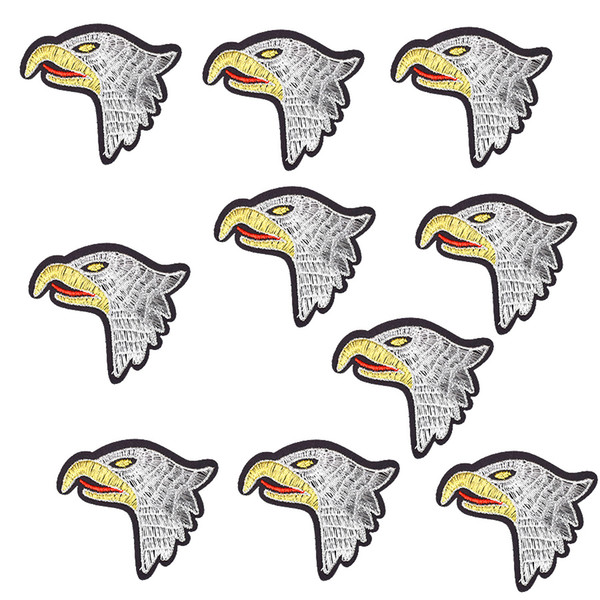 10PCS Eagle Head Patches for Stripe Embroidered Clothing Cartoon Patches for Jeans Apparel Sew Decoration Applique Patch Accessories Craft
