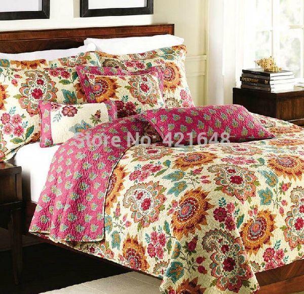 spedizione gratuita stile country americano 100% coon 3 pezzi trapunta stile mediterraneo set biancheria da letto applique patchwork copriletto set