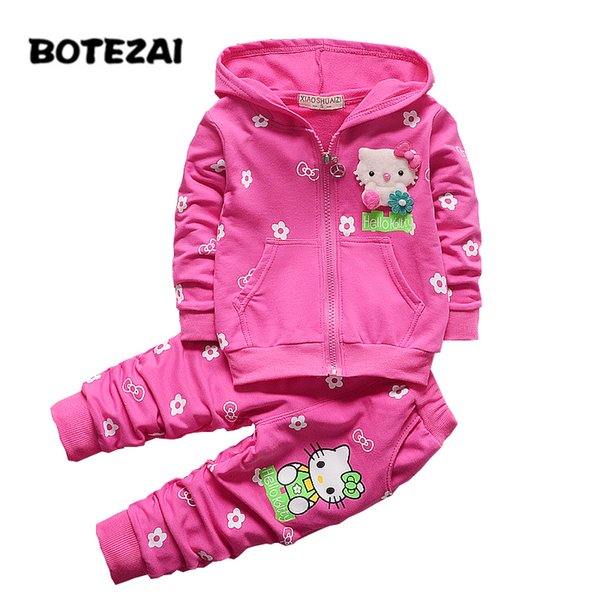 2017 Spring Autumn Baby Girls Clothes Set Cartoon Hello Kitty Casual Sport Hoodied Suit Children Cardigan Sweaters+Pant Set Y1892706