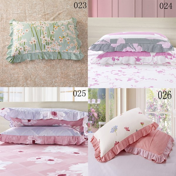 1Pcs Cotton Single Bed Lotus Leaf Side Pillowcases 48x74cm Pillow Case Pillow Sack Cover Pillowslip Bedding Green Pink