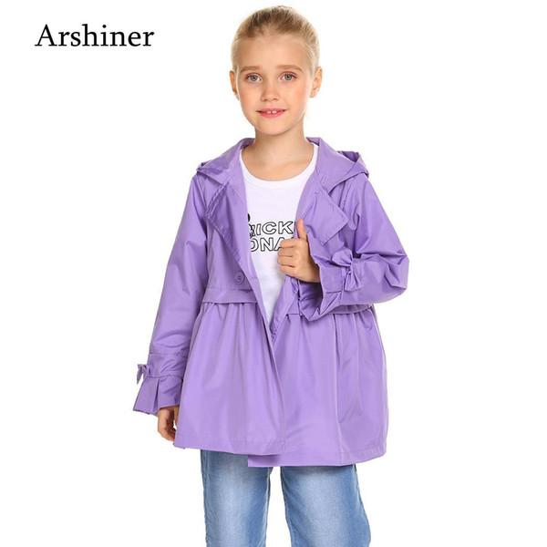Hooded Casual Hooded Jacket Girls Solid Raincoat Children Double Sleeve Coat Waterproof Kids Breasted Bow Cute Tie Long