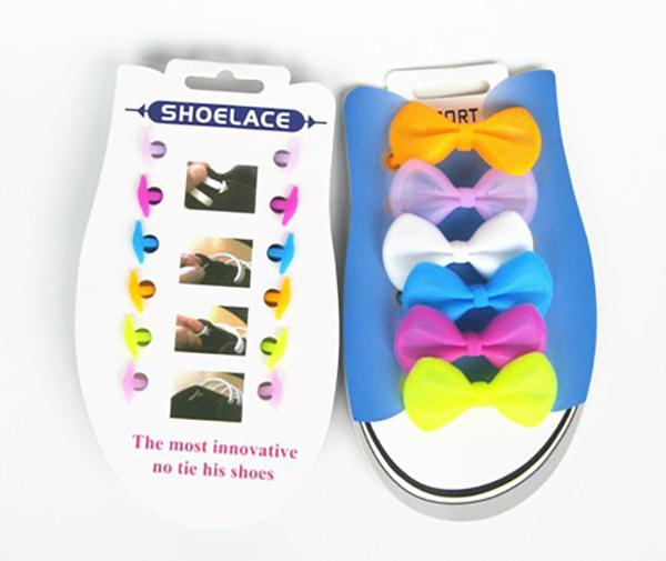 Silicone Shoe Laces No Tie Laces Running Shoelace Butterfly Shaped for Kids Set of 12PCS Colorful