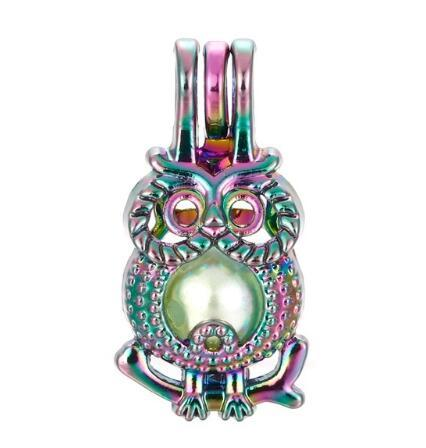 5pcs Rainbow Color Cute Owl Pearl Cage Beads Cage Essential Oil Diffuser Locket Pendant DIY Jewelry Making for Oyster Pearl Gift C43