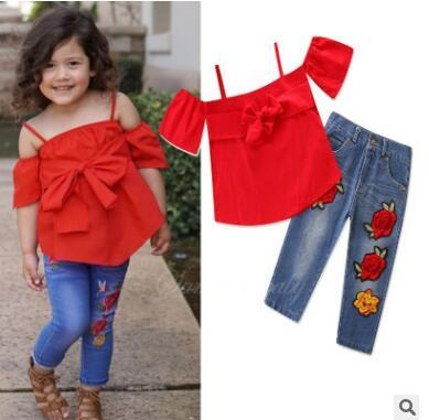 224d83a6b 2019 Girls Summer Outfits Set 2018 Summer Clothes Off Shoulder Bow Tops  Shirt Embroidered Pants Jeans Kids Toddler Infant Clothing 1 5Y From  Crazyfairyland, ...