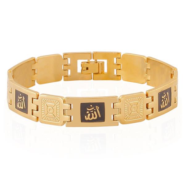 210mm Vintage Gold Silver Color Copper Chains Link Bracelet Golden Drop Oil Enamel Muslim Bracelets For Men Women