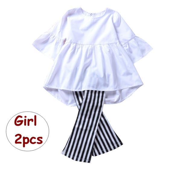 Set 2 pezzi INS Estate bambina autunno Top bianco bambina pantaloni a righe lunghe Set abbigliamento Boutique