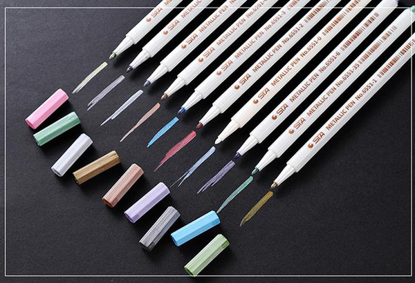 best selling Sta Pen Metallic Painting Art Fine Tip Colored Supplies Marker Paint Pens School Writing Supplies 10colors