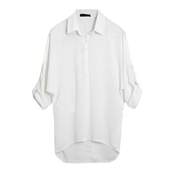G8208GR-S Spring Women Blouse Chiffon Shirt Long Sleeve Turn-down Collar Asymmetric Casual Loose Top Black/Green/White