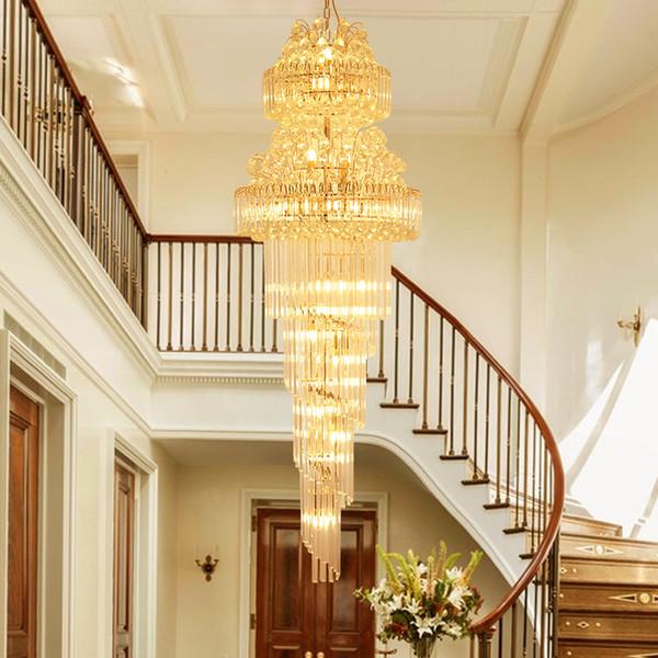 Modern Lustres de Cristal Luminária LED Lâmpadas de Ouro Americano K9 Lustre de Cristal Do Hotel Lobby Hall Stair Way Home Iluminação Inoodr