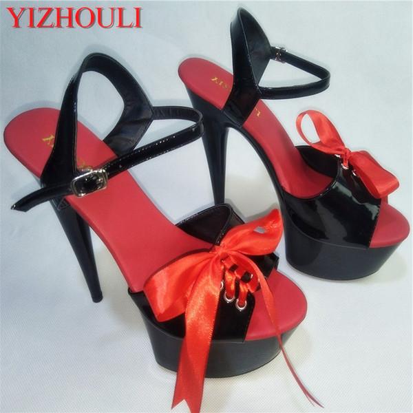 förderung süße prinzessin stil 15 cm offene spitze high heel plattform schuhe 6 zoll sexy dance shoes rote strappy sandalen