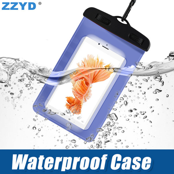 best selling ZZYD Waterproof Case Bag PVC Protective Universal Phone Case Pouch With Compass Bags Diving Swimming For iP 7 8 X Samsung S8