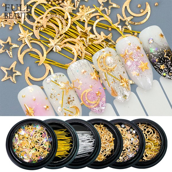 Full Beauty Metal Copper 3D Nail Art Star Moon Designs Gold Silver Aolly Rivet Studs for Nails Tips Decorations Flakes CH682