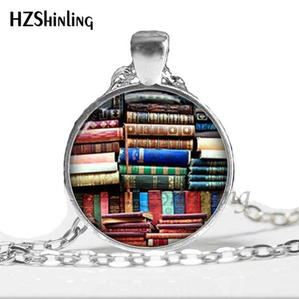 Collares Collier Library Book Case Necklace vintage Style Gift For Students Teachers And Librarians Necklace ,old Books Book-001