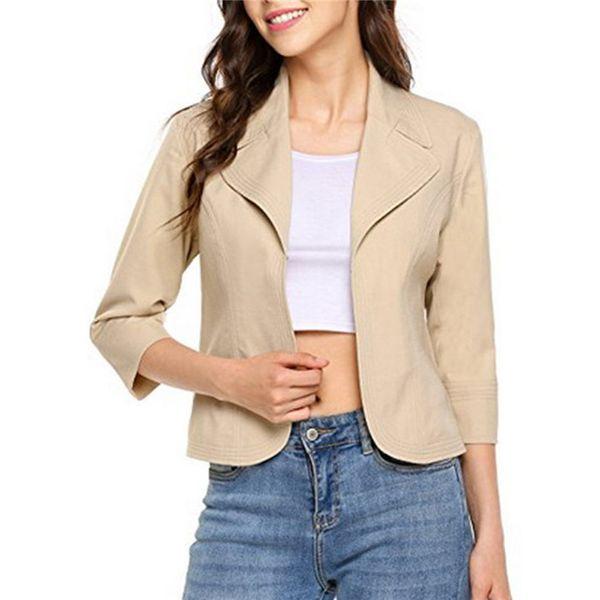 Kadın moda Blazers katı 3/4 kollu kısa ince kadın üst suits Ceketler yaka artı boyutu femme mont Ofis bayan Resmi Ceket
