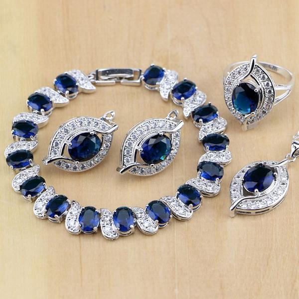 zircon set 925 Sterling Silver Blue CZ White Zircon Ensembles de bijoux Femmes Boucle d'oreille / Pendentif / Collier / Anneaux / Bracelet