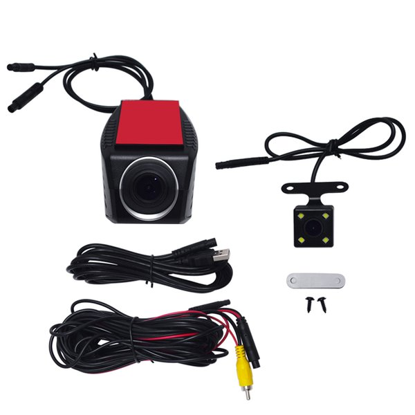 Car DVR Front/Rear USB Digital Dual Video Recorder 720P HD Camera With LED Light For Android Navigator Headunit #3913
