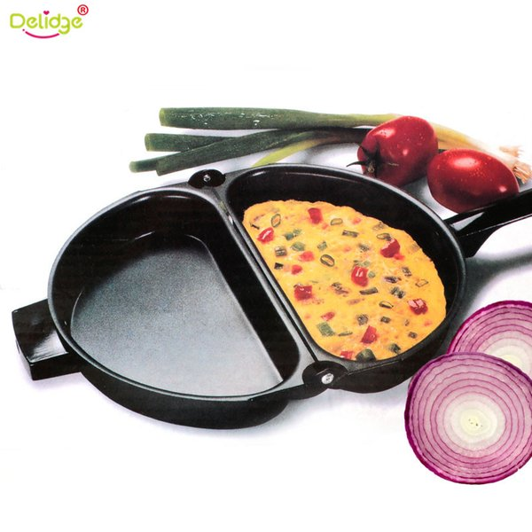 1 Pc 23 .5cm Portable Non -Stick Omelette Folding Pot Stainless Iron Double Side Grill Pan Home Breakfast Production Tools