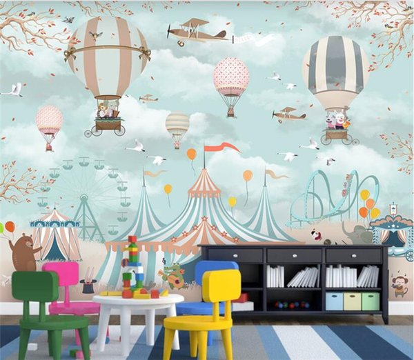Large 3d Wallpaper Cartoon Hot Air Balloon Airplane Animal Pup Circus Playground Background Wall 3d Wallpaper Mural 3d Wallpapers A Hd Wallpaper From