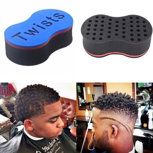 Magic Double Head Sponge Men Barber Hair Brush Black Dreads Locking Afro Twist Curl Coil Brush Hair Styling Tools Hair Care GGA120 200PCS