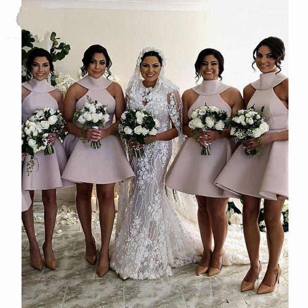 2019 Vintage Short Bridesmaid Dresses High Neck Sexy V Backless Big Bow Satin Party Dress Wedding Guest Dress Bridal Dress For Girls Cheap