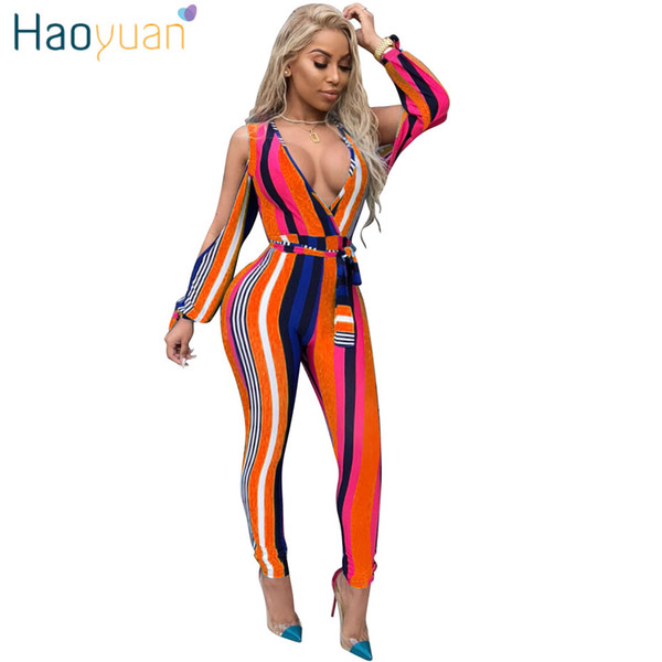 HAOYUAN Sexy Jumpsuits Striped Autumn Overalls 2018 Deep-V Party Club Skinny Split Long Sleeve Bodycon Rompers Womens Jumpsuit