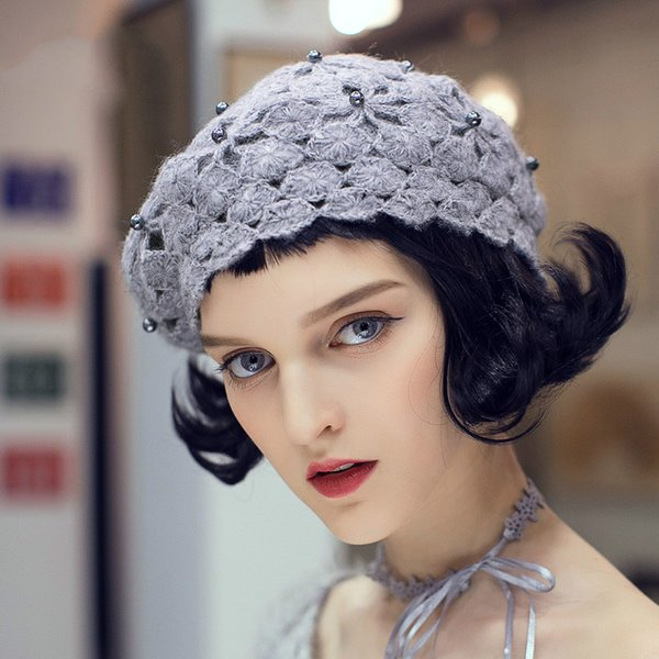 Flower Beret Girl Spring and Autumn Korean Version Sweet and Lovely British Hat Female Knitted Hat Beige Black Gray