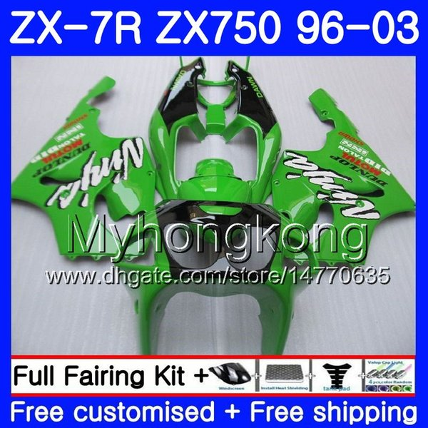 Body For KAWASAKI NINJA ZX 7R ZX750 ZX7R 96 97 98 99 203HM.11 ZX-750 ZX 7 R ZX 750 ZX-7R Factory green top 1996 1997 1998 1999 2003 Fairing