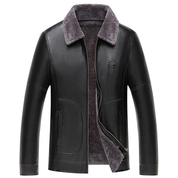 Winter Man Faux Fur Leather Jacket Men Black Faux PU Leather Jackets Mens Smart Casual Coat Fake Fur Fleece Lining Outerwear 4XL