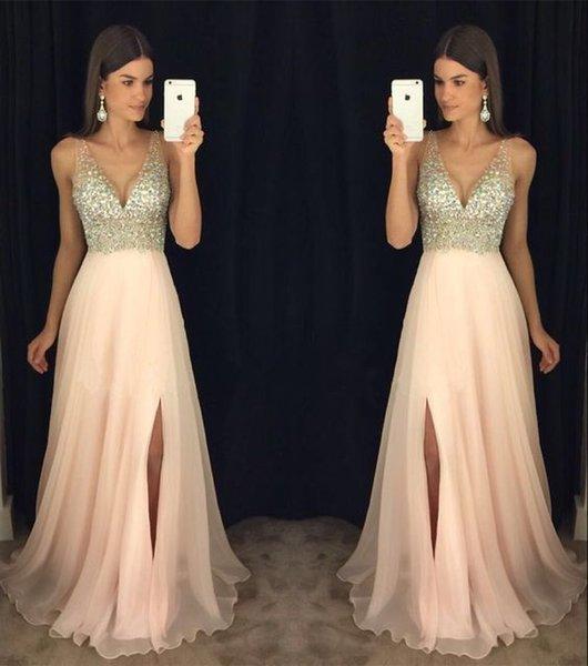 Compre Pink Sequins Vestidos De Fiesta Largos 2019 V Cuello Sin Respaldo Lado Dividido Tren De Barrido Vestidos De Noche Formales Cóctel Atractivo